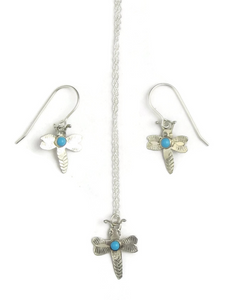 Small Turquoise Dragonfly Earring & Pendant Set