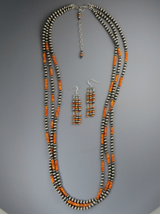 "Three Strand Orange Spiny Oyster Shell Silver Bead Necklace 36"" Set"