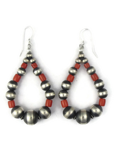 Mediterranean Coral Silver Bead Loop Earrings