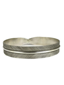 "Silver Feather Bangle Bracelet 1/2"" by Lena Platero"