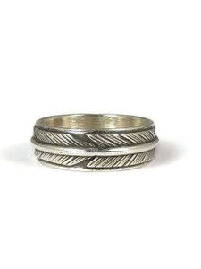 Sterling Silver Feather Band Ring Size 6 by Lena Platero