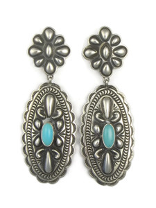 Sleeping Beauty Silver Concho Earrings by Tsosie White