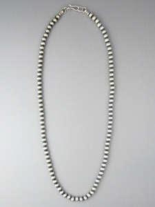 Antiqued Sterling Silver 5mm Bead Necklace 26""
