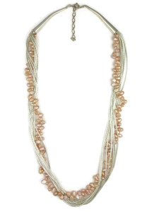 Pink Pearl Liquid Silver Necklace
