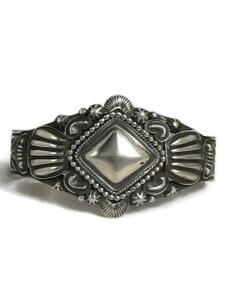 Handmade Silver Repousse Bracelet by Tsosie White