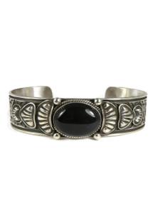 Silver Onyx Repousse Bracelet by Darryl Becenti (BR4216)
