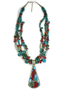 Turquoise & Gemstone Mosaic Inlay Bead Necklace by Daniel Coriz