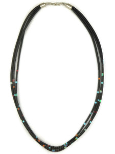 Three Strand Jet, Turquoise, Coral & Opal Heishi Necklace by Ronald Chavez