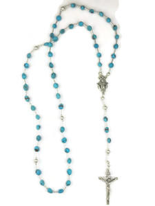 "Turquoise Rosary Beads 26"" (CR488)"