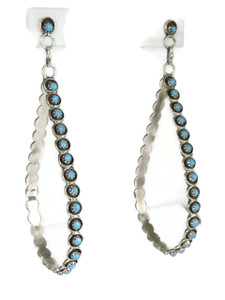 "Long Turquoise Loop Earrings 4"" by Zuni Florinda Lonasee"