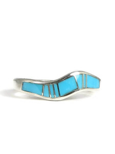 Turquoise Inlay Wave Ring Size 9 (RG3816-S9)