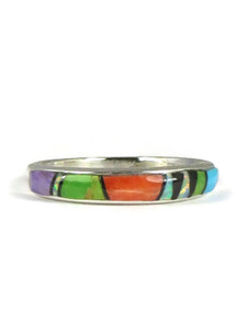 Multi Gemstone Inlay Ring Size 8 (RG3819-S8)