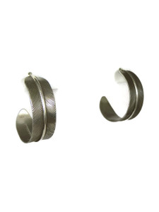 Sterling Silver Feather Hoop Earrings by Lena Platero