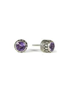 Sterling Silver Amethyst Gallery Wire Stud Earrings