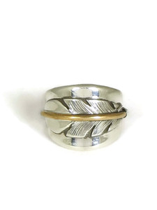 12k Gold & Sterling Silver Feather Ring Size 9 1/2 by Lena Platero