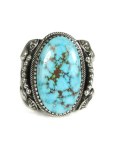 Natural Kingman Bird's Eye Turquoise Ring Size 13 by Delbert Gordon