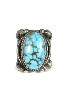 Natural Kingman Bird's Eye Turquoise Ring Size 10 by Delbert Gordon