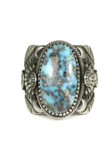 Natural Dry Creek Turquoise Ring Size 12 1/2 by Delbert Gordon