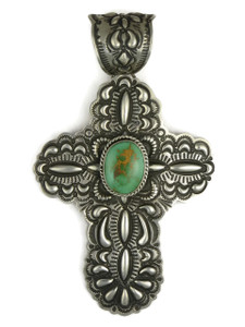 Large Handmade Royston Turquoise Cross Pendant by Darryl Becenti