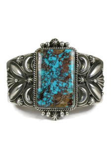 Natural Webbed Pilot Mountain Turquoise Cuff Bracelet by Derrick Gordon