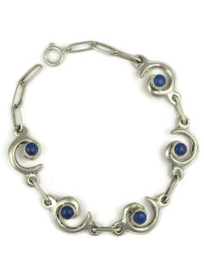 Lapis Silver Swirl Link Bracelet by Mildred Parkhurst
