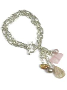 Rose Quartz & Pearl Charm Bracelet