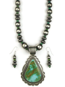 Natural Two-Tone Royston Turquoise Necklace Set by Albert Jake