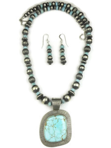 Natural High-Grade Number 8 Turquoise & Larimar Necklace Set by Albert Jake