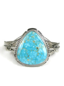 Kingman Turquoise Silver Feather Bracelet by John Nelson (BR6054)