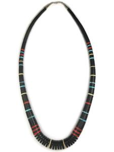 "Jet & Gemstone Heishi Necklace 27"" by Ronald Chavez (NK4604)"