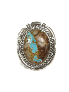 Natural Royston Boulder Turquoise Eagle Ring Size 11 by Freddy Charley