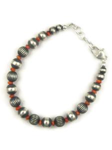 Spiny Oyster Shell Silver Bead Bracelet (BR6070)