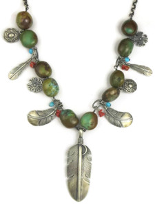 Turquoise Silver Feather Necklace (NK4609)