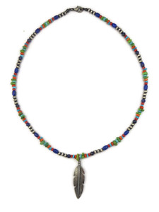 Turquoise & Gemstone Beaded Silver Feather Necklace (NK4511)