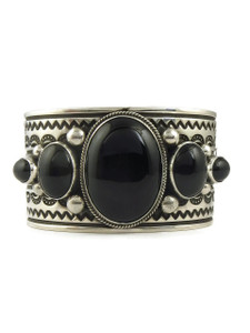 Silver Black Onyx Cuff Bracelet by Albert Jake