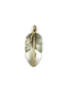 12k Gold & Sterling Silver Feather Pendant (PD3929)