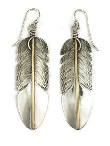 12k Gold & Sterling Silver Feather Earrings by Lena Platero (ER5089)