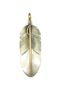 12k Gold & Sterling Silver Feather Pendant by Lena Platero (PD3916)