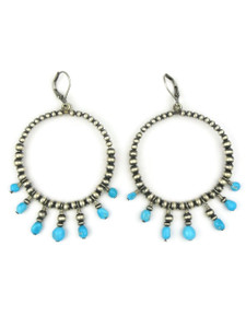 Turquoise & Silver Bead Loop Earrings on Lever Backs (ER5105)