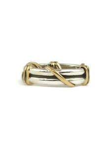 12k Gold & Silver Wire Wrap Ring Size 8 1/2