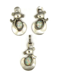 Opal Pendant & Earring Set by Les Baker Jewelry