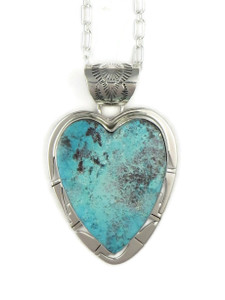 Kingman Turquoise Heart Pendant by Phillip Sanchez (PD4033)