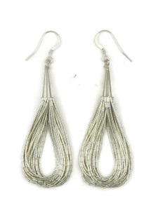 "20 Strand Liquid Silver Earrings 2 3/4"""