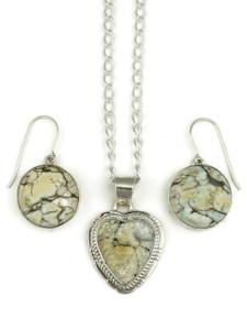 Silver Variscite Heart Pendant & Earring Set (PD4049)