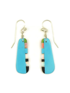 Turquoise & Gemstone Inlay Slab Earrings by Ronald Chavez (ER4158)