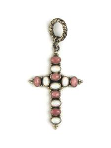 Rhodochrosite & Opal Cross Pendant