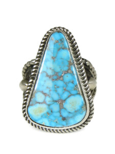 High-Grade Kingman Turquoise Gem Ring Adjustable Size 9-10 by Albert Jake