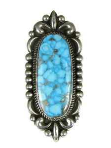Large Water-Web Kingman Turquoise Ring Size 8 1/2 by Albert Jake (RG4995)