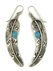 Sleeping Beauty Turquoise Silver Feather Earrings by Lambert Perry