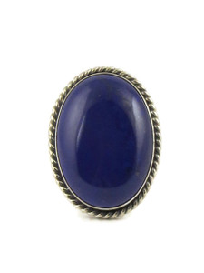 Silver Lapis Ring Size 7 by Linda Yazzie (RG5036)